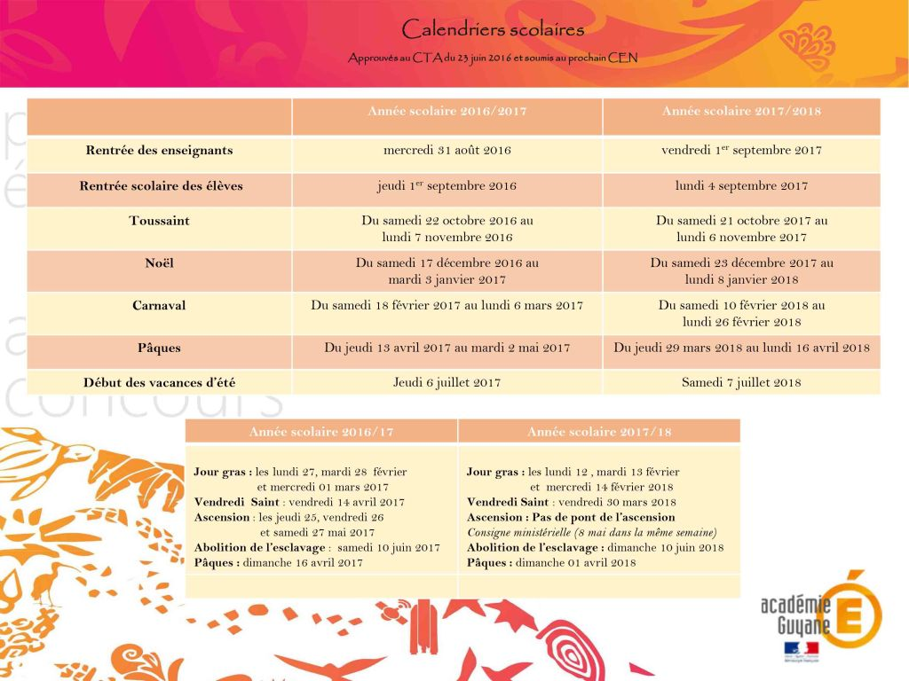 proposition calendrier
